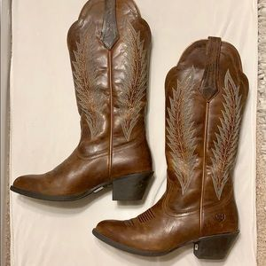 Blue Feather Cowboy Western Boot - Women